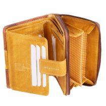 MIKA Damengeldbörse, aus Leder, Farbe: braun-gelb